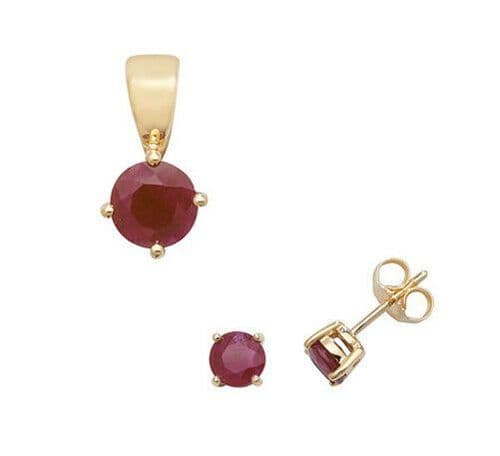 Ruby Pendant and Earrings Set Classic Solitaire 9ct Yellow Gold Hallmarked